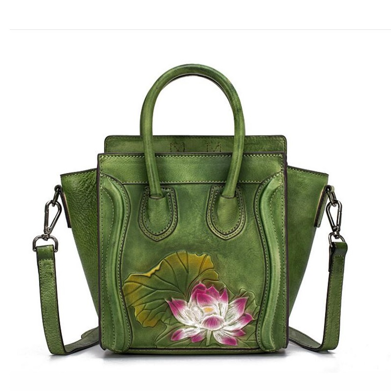 Famous Embossed Lotus Flower Designer Genuine Cow Leather Women's Small Trapeze Shoulder Bag Vintage Ladies Mini Floral Handbag футболка с полной запечаткой мужская printio iron putin design