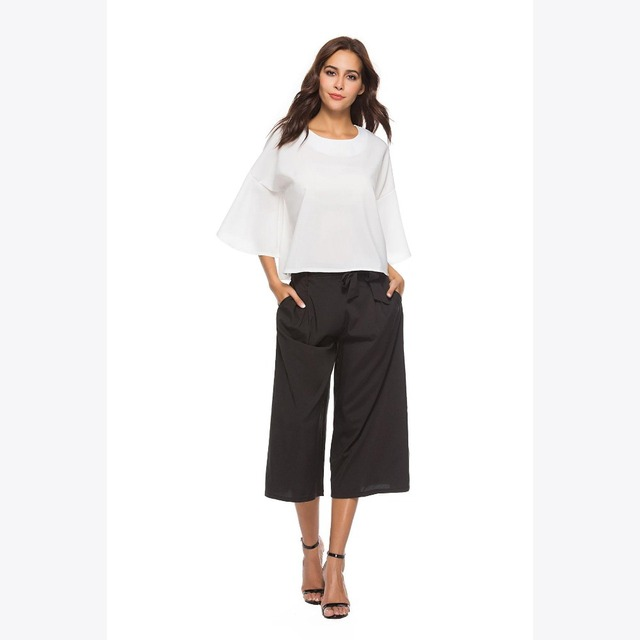 bb6ae8a8f1eee Youthreadyv Autumn Two Piece Set Women Chiffon Casual Black Wide Leg Pants  Summer Outfits White Blouse Top Plus Size 2 Piece Set