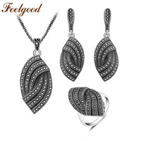 Feelgood New Design Silver Color Vintage Jewellery Set Fashion Black Crystal Jewelry Sets For Women Wedding