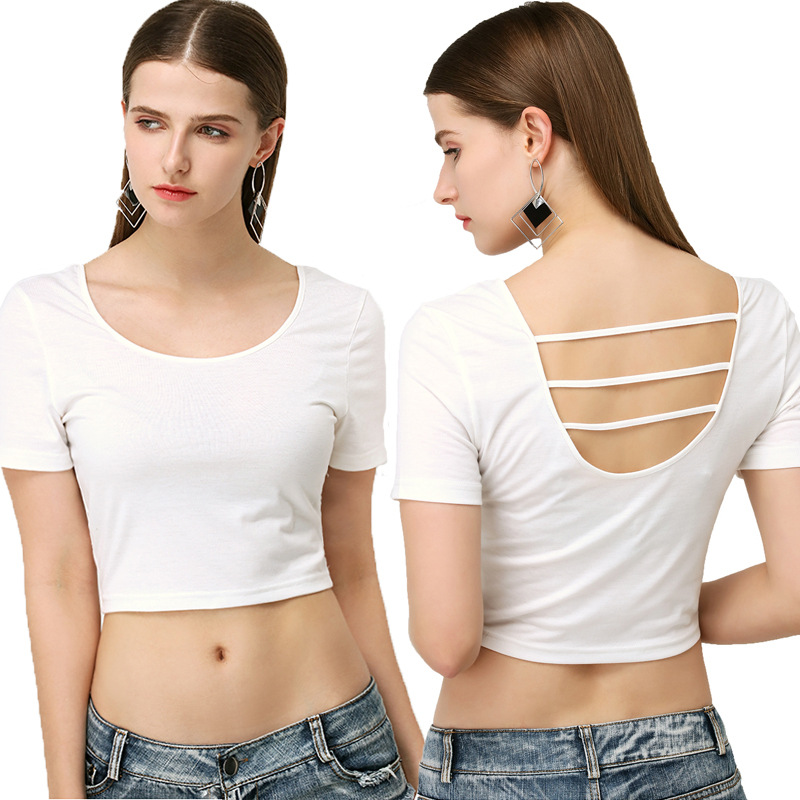T-shirts for women fashion Sexy Nude Short-Sleeve T-Shirt Round Neck Hollow Solid Color Short Slim Fit 6 Colors Free Shipping ...