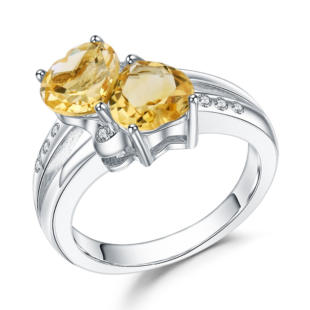 Gemstone-Rings Jewelry Citrine 925-Sterling-Silver Natural Love of Heart Women for Valentine's-Day