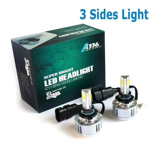 72 W 9006 HB4 3 COB Llevó la Linterna H7 H8 H9 H10 H11 HB3 9005 LED faro de LED 3 COB Chip Super brillante