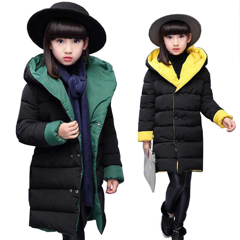 Baby girls clothes 3-15T kids winter warm jacket teenage Double-sided wear down cotton coat  children hooded coat baby snow suit