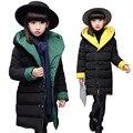 2016 nuevas Muchachas Del Invierno Espesar ropa de Abrigo de Algodón Acolchado Niños chaqueta para chicas ropa Niños ropa de Invierno Parkas chica 3-15Y