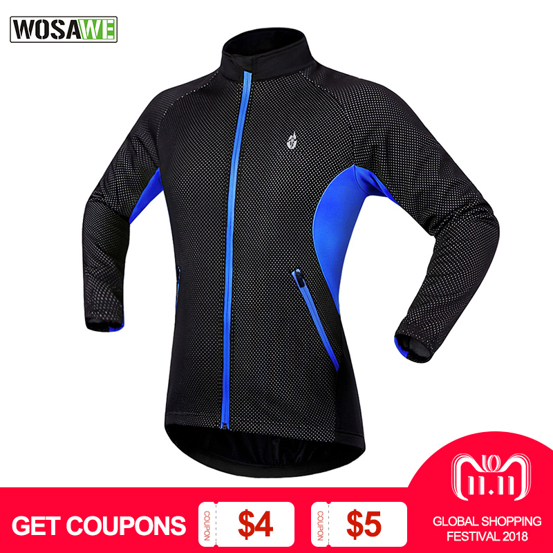 WOSAWE Cycling Jacket Windproof Waterproof Bike Bicycle Clothes MTB Bike Jersey Winter Thermal Fleece Sports Coat ciclismo Men eeda men sports waterproof windproof reflective breathable bike bicycle jersey winter fleece thermal cycling wind coat jacket