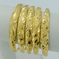 1Piece US$4.28 / Women Bangle  Yellow Gold Plated Dubai Wedding Ethiopian Bracelet Africa Bride Bangle Arab Jewelry #000207