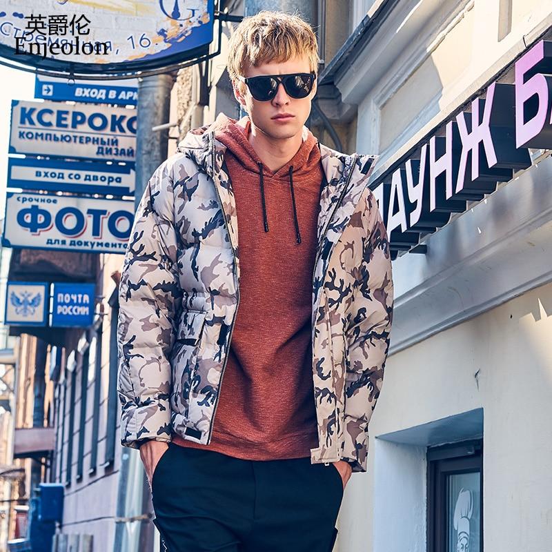 Enjeolon brand winter thick winter Camouflage   down   jacket   coat   men hoodies parka   coat   male warm parka   coat     down     coat   YR0151