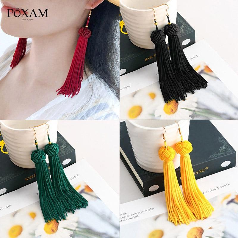 POXAM Fashion Bohemian Silk Fabric Long Fringe Earrings 2019 for Women Statement Wedding Jewelry pendiente Dangle Tassel Earring