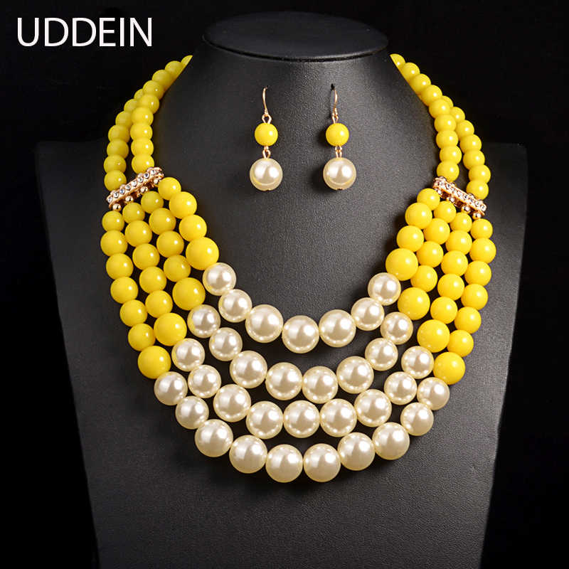 UDDEIN Multi Simulated Pearl Necklace Top Quality Bohemian customs Collar Bridal Wedding Accessory African Beads Jewelry Set