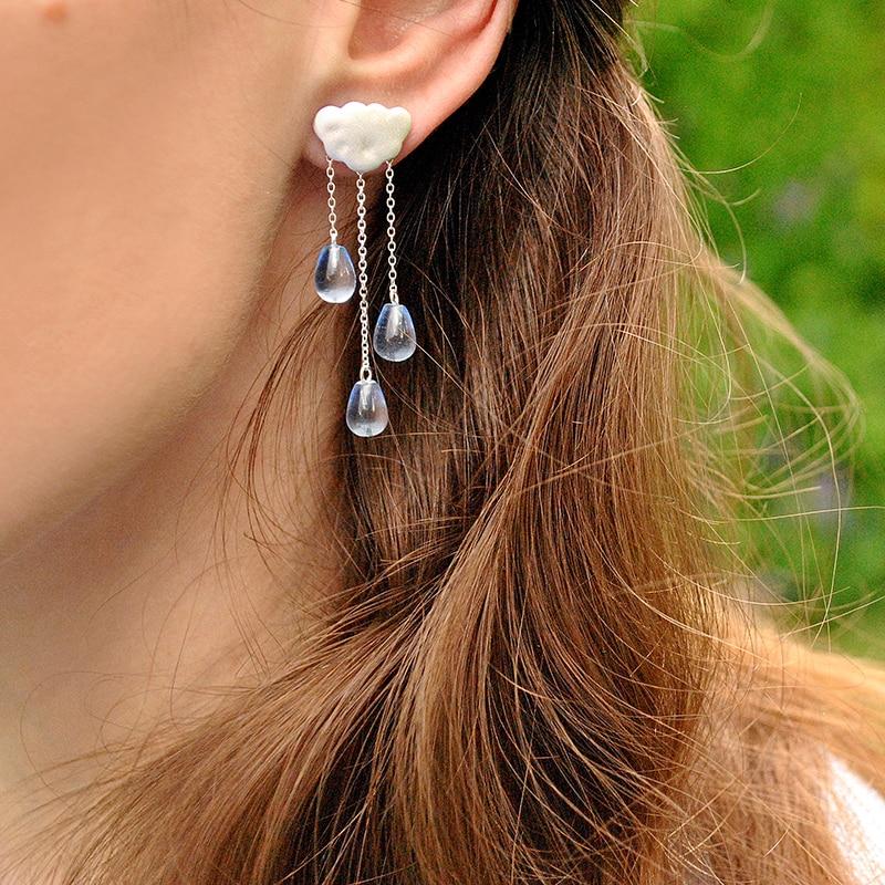 Lotus Fun réel 925 en argent Sterling fait à la main de beaux bijoux ethnique nuage Long gland bijoux ensemble avec pendentif boucle d'oreille goutte collier - 6
