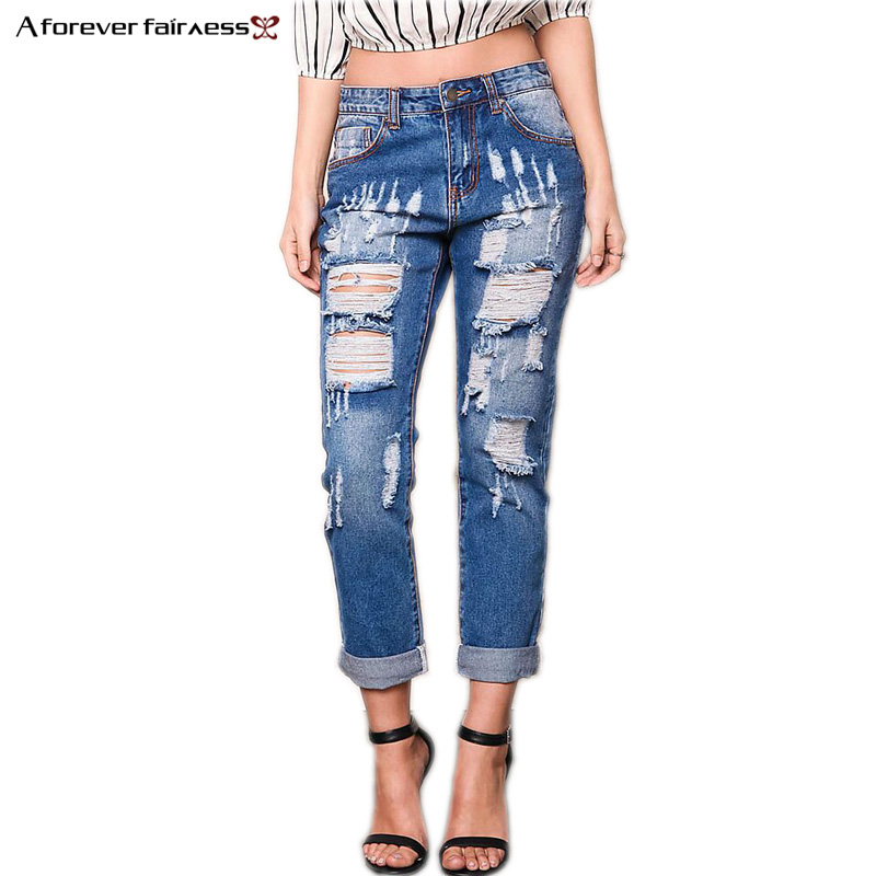 A Forever Spring Summer women Denim Pant Boyfriend Hole Ripped jeans women causal trousers Slim vintage jeans For Women AFF1060 omilka women ripped boyfriend jeans 2017 mid waist hole knee skinny pencil pant slim elastic cut out white denim jeans for women