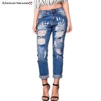 Eine Immer Frühling Sommer frauen Denim Pant Freund Loch Zerrissene jeans frauen kausalen hosen Schlank vintage jeans Für Frauen AFF1060