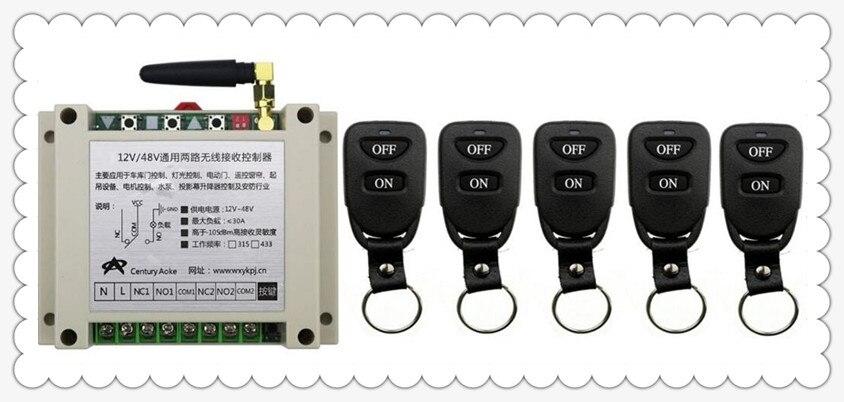 Nouveau DC12V 24 V 36 V 48 V 10A 2CH Télécommande Interrupteur Sortie Relais Radio Module Récepteur et 5 pièces Ceinture boucle Transmetteur