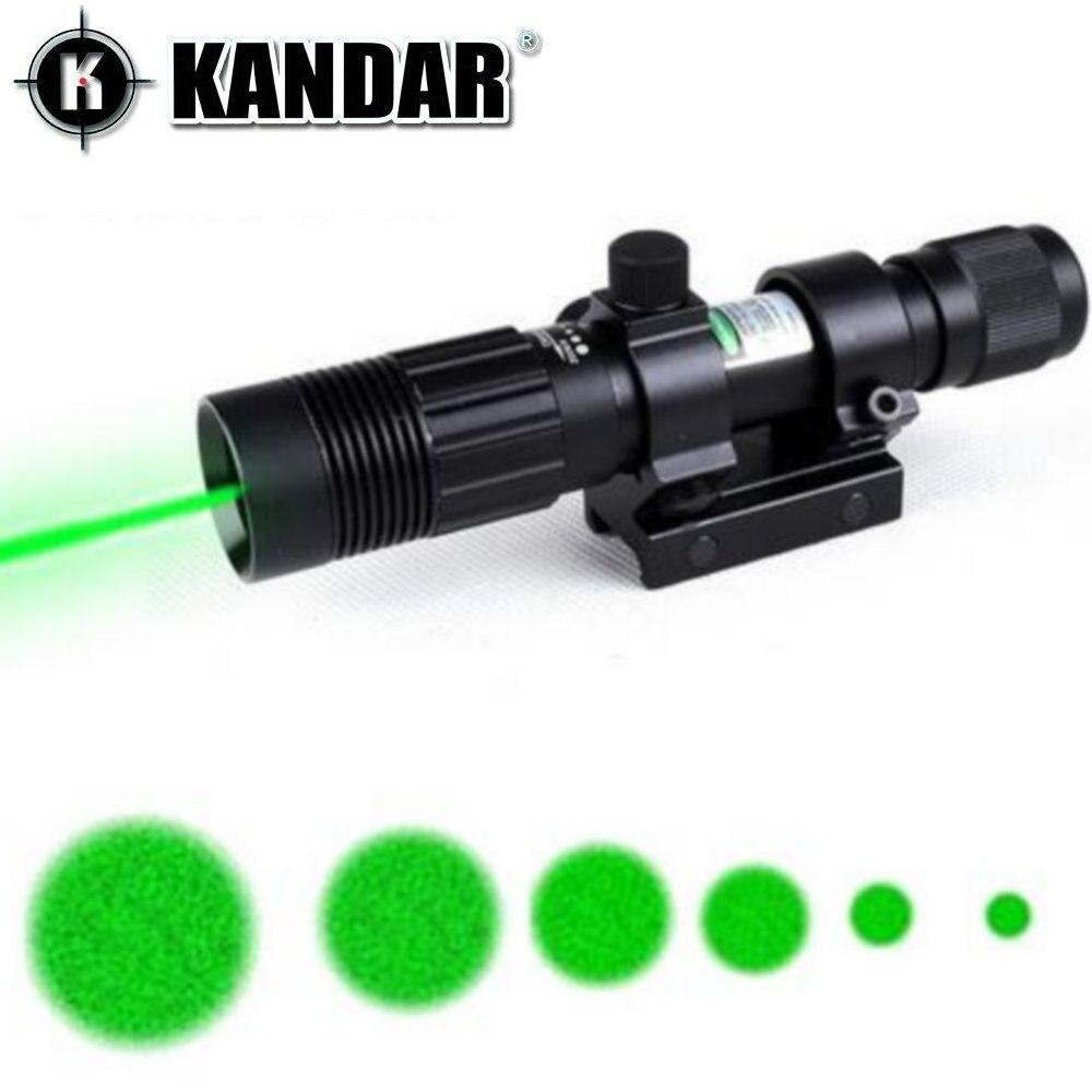 KANDAR Tactical Hunting Adjustable Green Laser Sight Designator Flashlight Night Vision Light Dot To Light Adjust W/Mount