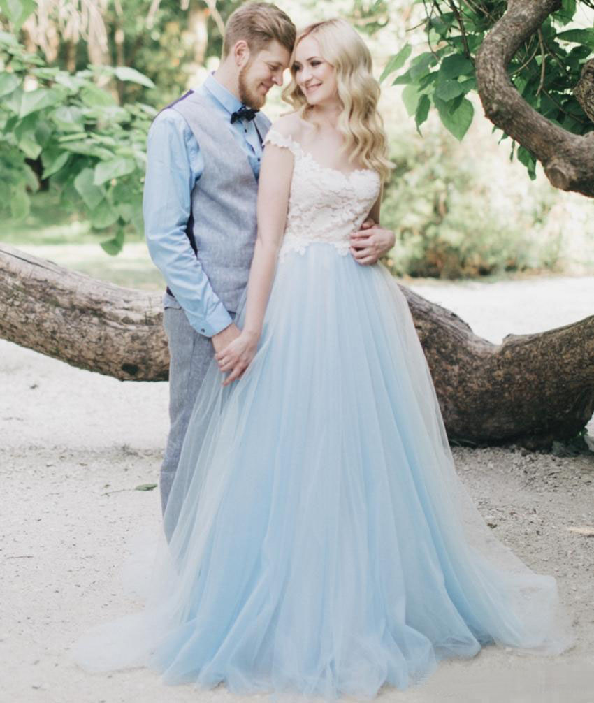 New Design Beach Ivory With Light Blue Colorful Boho Wedding Dresses ...