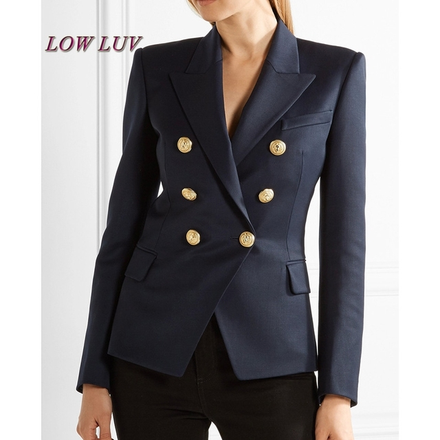 38d65ed0446 High quality Hot 2017 Newest Fashion Small suit Jacket Blazer Women s Long  Sleeve Double Breasted Gold