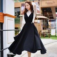 D'origine 2016 Marque Saias Kimono Plus La Taille Col V Casual Vintage Solide À Long Automne Femmes Skater Jupes