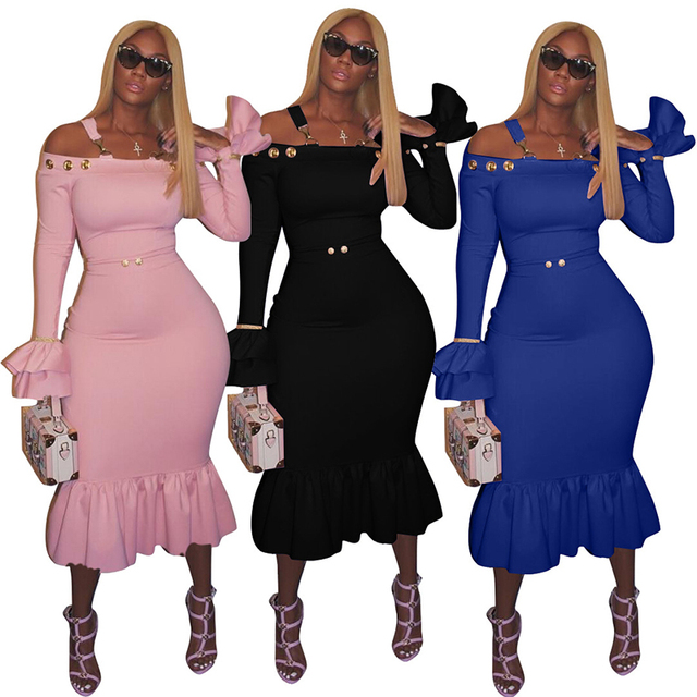 27a7da5e86 Western Style Off Shoulder Flare Sleeve Midi-Calf Bodycon Dress Female Sexy Plus  Size Trim Ruffles Long Sleeves Club Party XXL