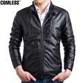 2016 Mens Simple Style Stand Collar PU leather Jacket Slim Fit Mens Motorcycle Leather Coats Jackets Outwear Plus Size M-5XL