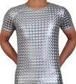 Hombres brillantes de 3D patrón de la camiseta de cuero como camiseta Tee Tops Faux de manga corta chaleco camiseta Top de la camisa desgaste