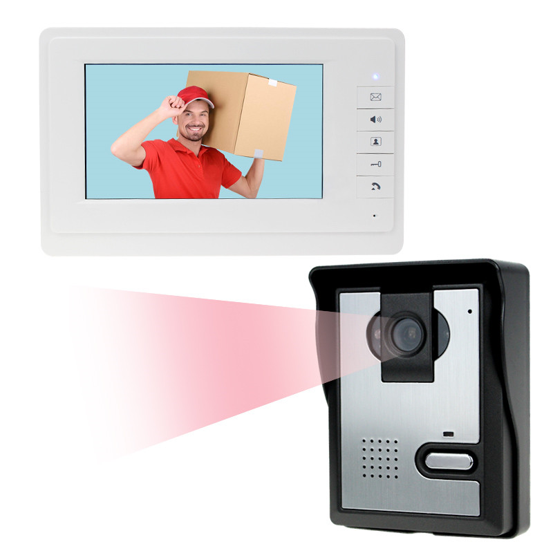 Wired Home 7 inch TFT LCD Monitor Color Video Door Phone Intercom System IR COMS Outdoor Camera Doorphone V70F+L Free Shipping 7 inch video doorbell tft lcd hd screen wired video doorphone for villa one monitor with one metal outdoor unit night vision