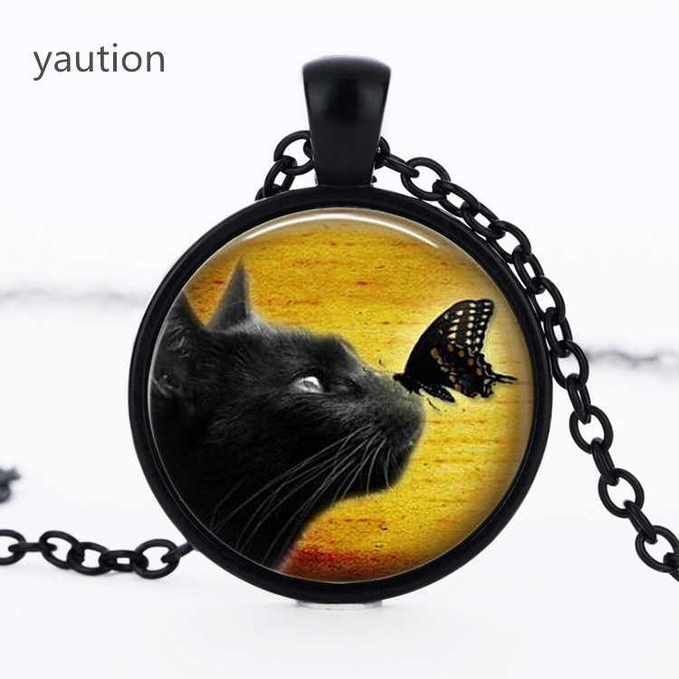 1pcs vintage black cat glass pendant necklace black butterfly pendnat Art picture necklace bestselling divination Jewelry