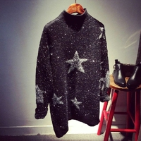 Winter Bright Silk Stars Long Pullover Lurex Yarn Female Half Turtleneck Woolen Sweater Thickened Base Stars