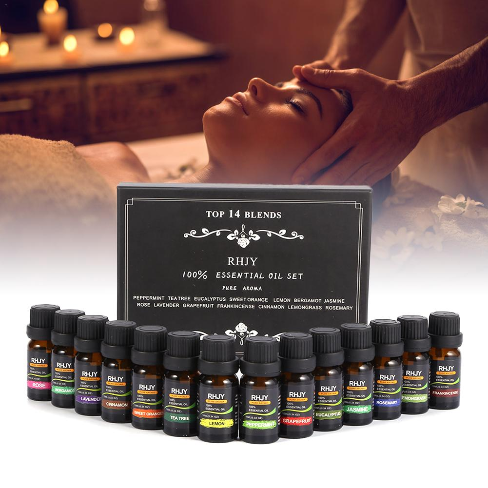 1 conjunto de óleo essencial de massagem de planta pura natural conjunto de aromaterapia de ervas óleo essencial rosto e corpo pode usar fácil de absorver