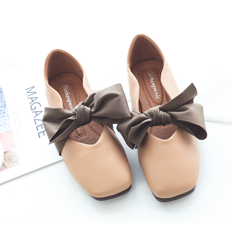 2018 Autumn New Sleek Minimalist Flat Shoes Women Retro Bow Soft And Comfortable -2116