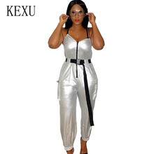 KEXU Bronzing Reflective Personality Straps Jumpsuits Sexy Sleeveless Zipper Bodycon Bandage Playsuits Women Summer Rompers