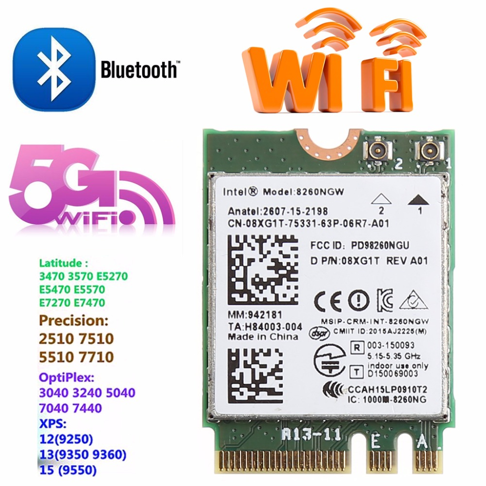 Dual Band 2.4+5GHZ 867M Bluetooth V4.2 NGFF M.2 WLAN Wifi Wireless Card Module For Intel 8260 AC DELL 8260NGW DP/N 08XJ1T