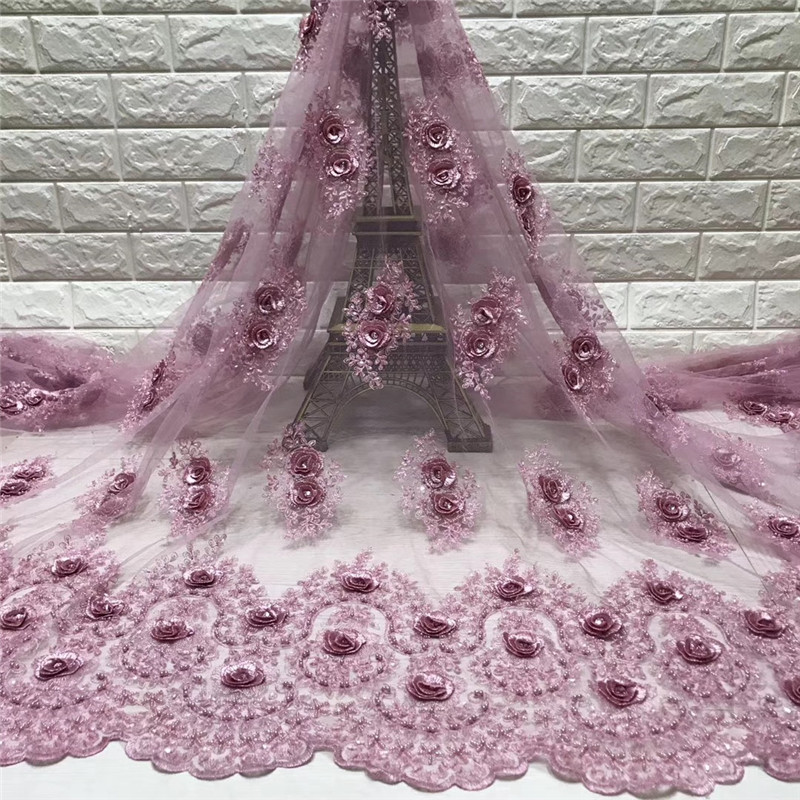 african lace fabric with 3D flower and beads 2018 latest Pink lace fabric high quality 3d lace fabric for wedding HJ1572 1