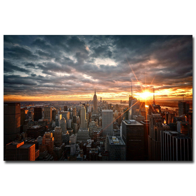 160b45eee9 NICOLESHENTING Sunset - New York City Night Art Silk Fabric Poster Print  12x18 24x36 inch Cityscape