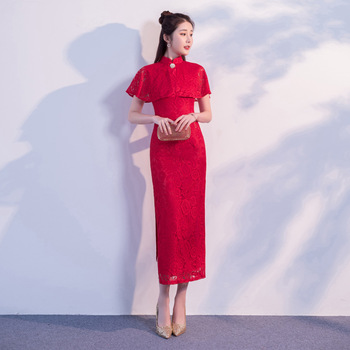 Red Cheongsam Vintage Chinese style Lace Long Qipao New Arrival Womens Summer Elegant Slim Party Dress Vestido Size S M L XL XXL