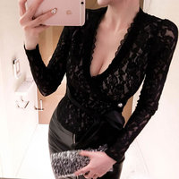 Korean Sale Real Vadim Zanzea Women Shirts Sexy V neck One piece Waist Bandage Lace Bottoming Shirt Blusas Mujer De Moda 2018