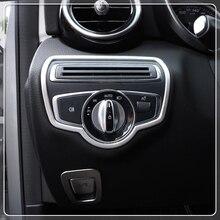 Per Mercedes-Benz C-Class W205/GLC X253 2015-2019 Car Interior Testa Interruttore Della Luce Telaio finiture In Acciaio Inox Accessori Auto
