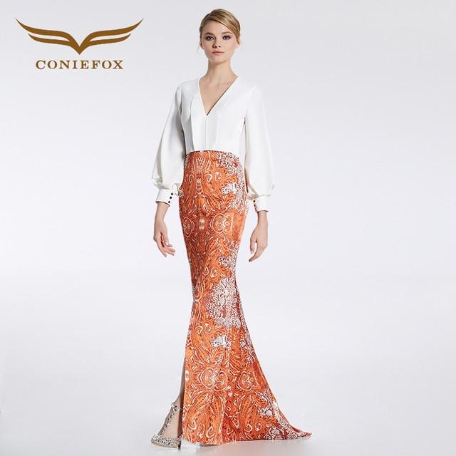 CONIEFOX 31966 Orange Luxury V-neck prom dresses Ladies evening party dress gown long Xmas dress robe de soiree vestido de festa
