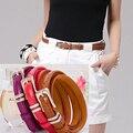 10 Colors Alloy Buckle Fine Women jeans Belt Cowskin Bottom Thin Belt Candy Color Female Belt Dress Leisure Decoration