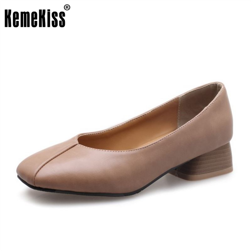 KemeKiss Size 31-46 Simple Office Ladies High Heel Shoes Women Square Toe Solid Color Thick Heel Pumps Chic Daily Women Shoes kemekiss size 32 45 women concise pumps square toe high heels shoes solid office lady thick heel pump party wedding footwears