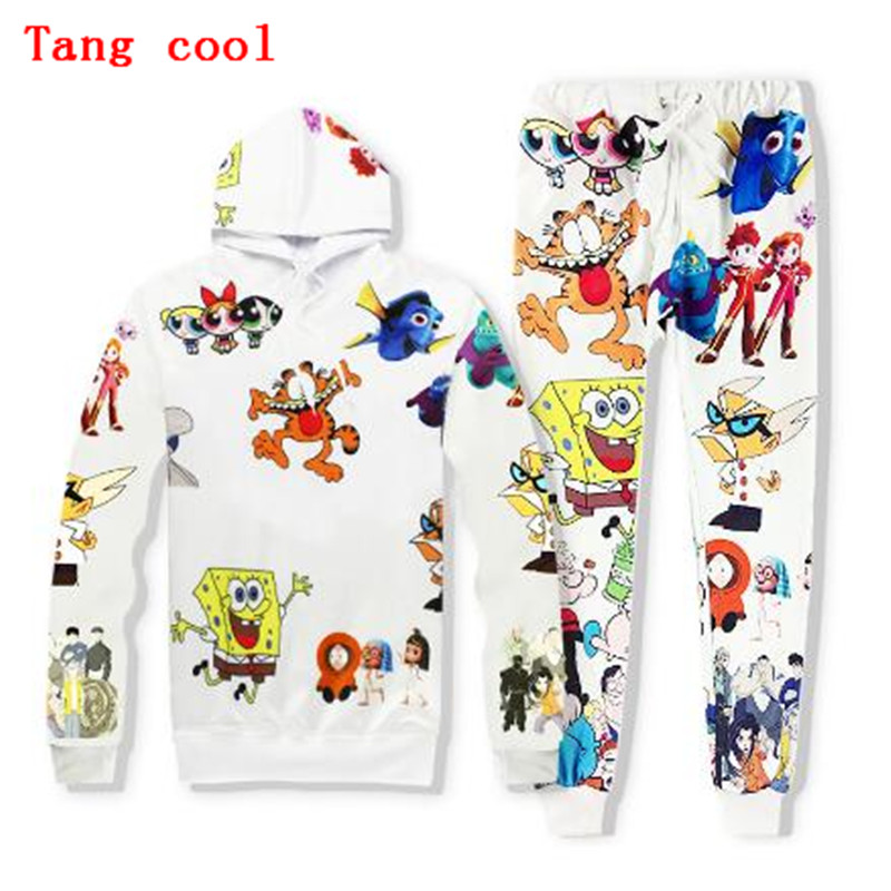 2018 new HD 3D animation SpongeBob SquarePants coffee cat Hoodie + trousers suit fashion young students track and field 2 piece