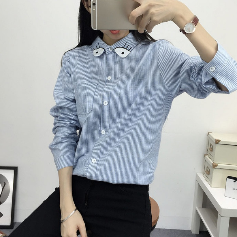 Women Shirt Vertical Striped Long Sleeve Shirts Blouses Cartoon Embroidery Fashion Female 2017 New Autumn Casual Female Top