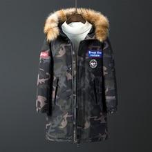 2019 New Fashion Fur Collar Winter Down Jacket Men Warm Men Coat Casual Long Parka Long Thicken Camouflage Coat Men for Winter