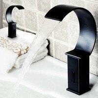Водопад латуни touchless кран автоматический датчик смеситель сохранить водопроводной воды для ванной масло втирают Бронзовый (античная черны