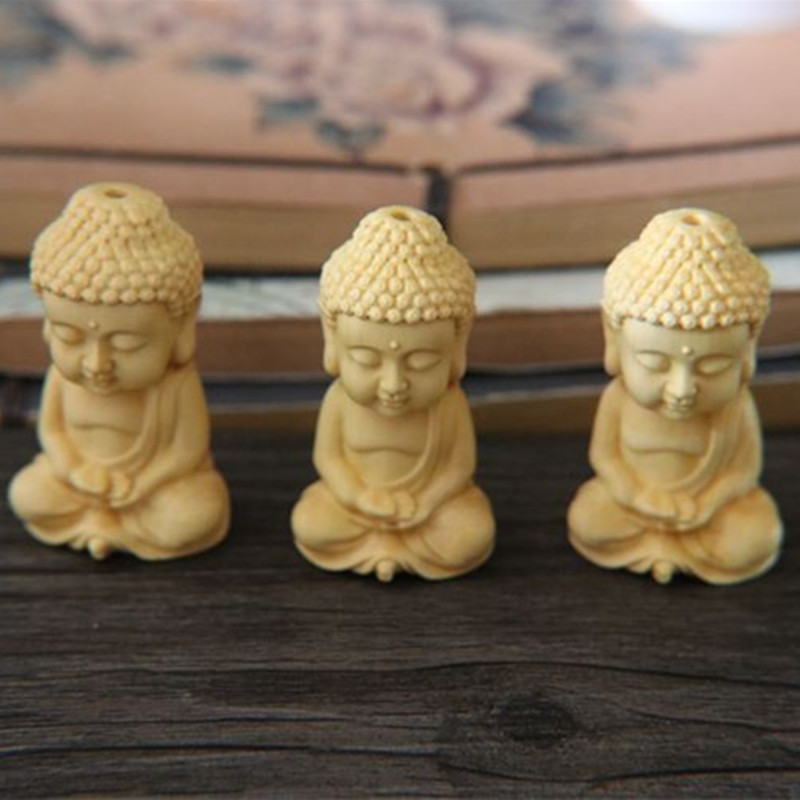 1pc Carving Boxwood Wood Buddhism Sakyamuni Figurine Buddha Statue Pendant Home DecorationYLM9911