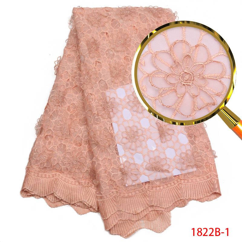 Latest African Lace Fabric mesh embroidered High Quality 3D Flower Laser Cut Lace Fabric Pink French Lace Fabric dress QF1822B