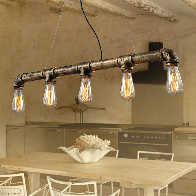 Retro Edison Bar/dining room /KTV Lighting Vintage Pendant Lights Water Pipe Pendant Lamp for Warehouse E27 Edison Bulbs Free industrial vintage 4pcs e27 edison bulb water pipe pendant lamp rustic retro lustres hanging lighting for bar cafe shop fixture