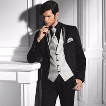 Groom Tuxedos Wedding Suits Bridal Tailcoat Groomsman Suit Formal Business Suits ( Jacket+Pants+Vest ) Two Buttons