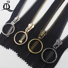 15cm-45cm 1pcs closed-End gold black silver copper Metal Zipper,Multi-color #5 Zippers For DIY Sewing white&black Available(China)