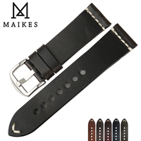 MAIKES New Design Special Oil Wax Cow Leather Watch Band 22mm 24mm Watch Accessories Watch Strap