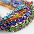 Hot Selling Fashion Flat Round Disk Shape 6x8mm Glass Lampwork Faceted Flower Loose Beads Multi-Colours for Jewelry & DIY Craft